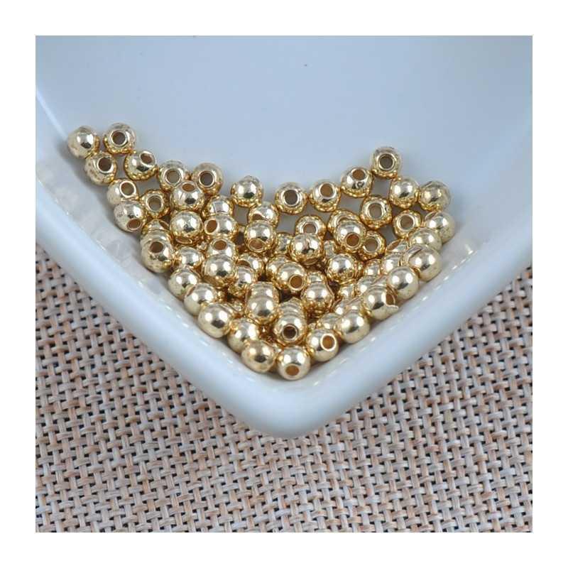 100 Perles Acrylique Brillante 4mm Couleur Doré