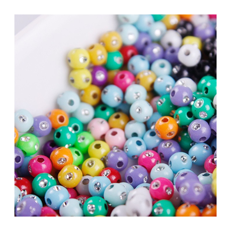50 Perles 5mm Mix Simple Point Argenté