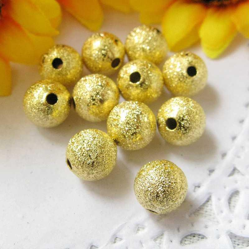 Lot 30 Perles Stardust Métal 6mm Doré