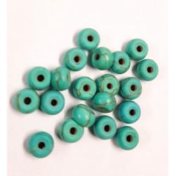 20 Perles Rondelle 6mm x 4mm Naturel Pierre Turquoise MC0106024