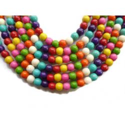 20 Perles Rond 6mm Naturel Pierre Turquoise Couleur Mixte MC0106026