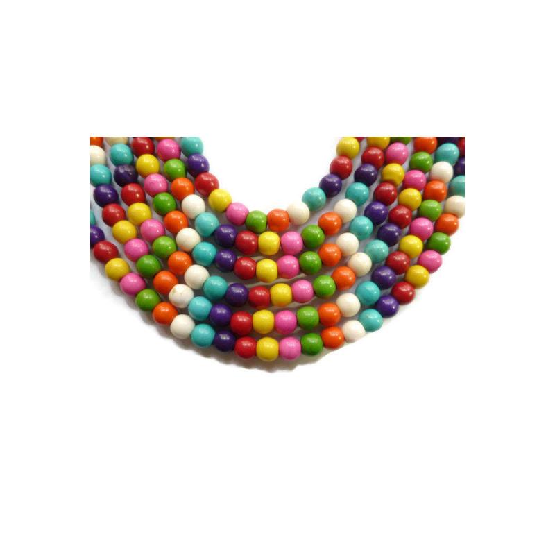 20 Perles Rond 6mm Naturel Pierre Turquoise Couleur Mixte