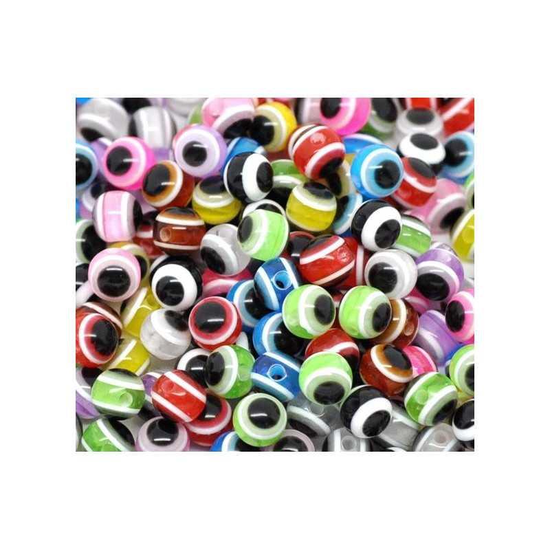 20 Perles 6mm Mixte Œil Turc