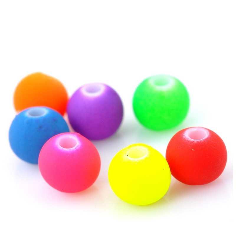 20 Perles Acrylique Mat Fluo Mixte 6mm