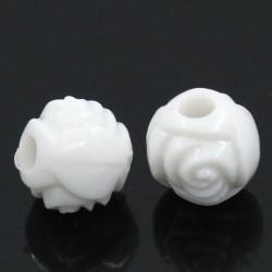 50 Perles Rond Fleur 6mm Couleur Blanc MC0106064