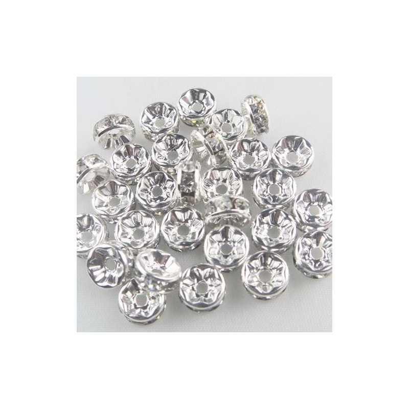 Lot de 5 - 20 pièces perle strass intercalaire Argenté 10 mm