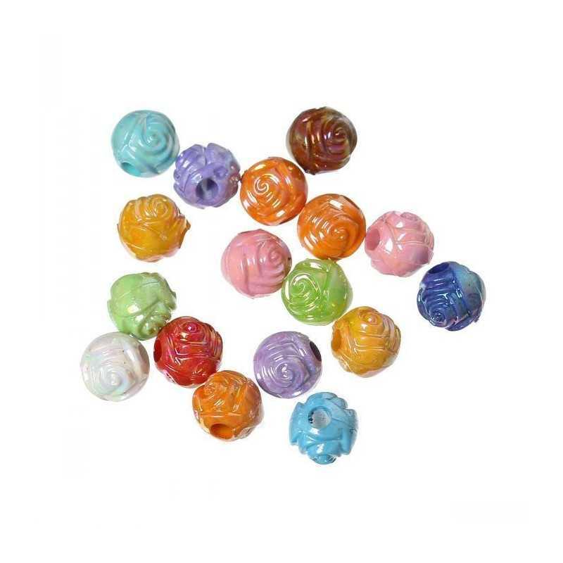 50 Perles Rond Fleur 6mm Couleur Mixte