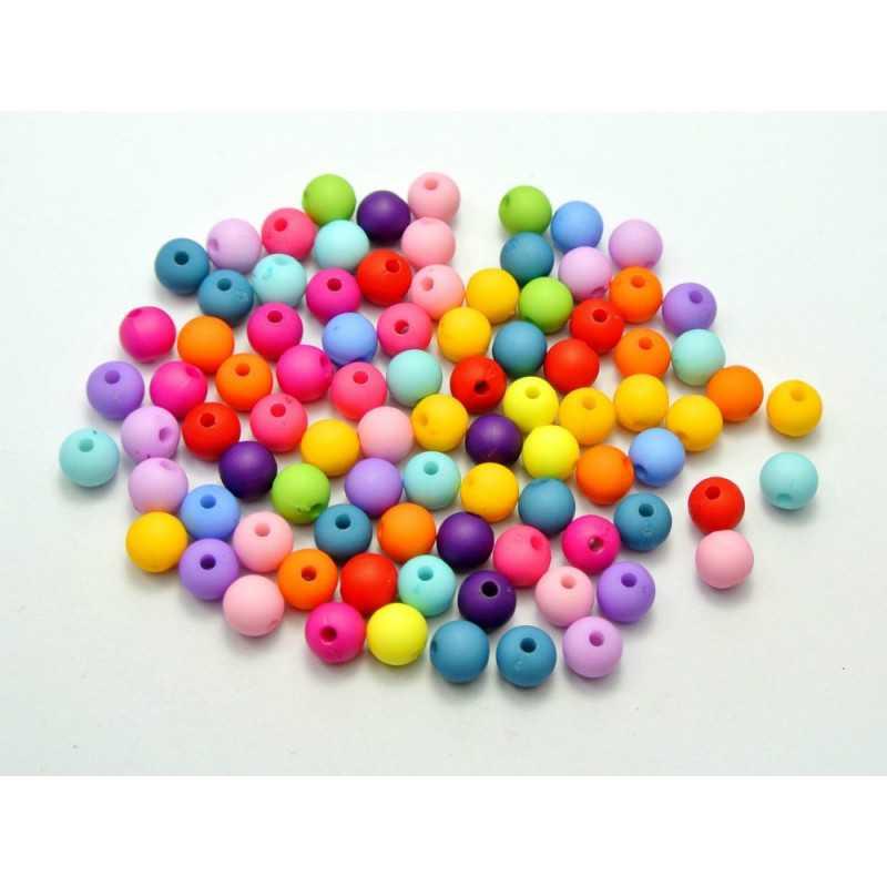 30 Perles en Resine 6mm Couleur Mixte Mat