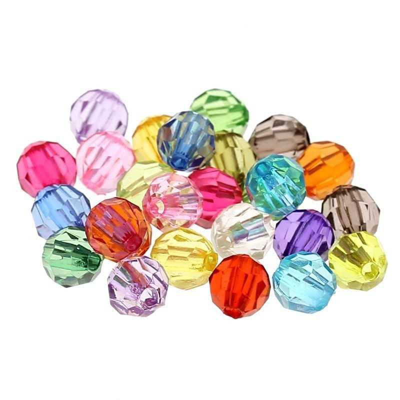 20 Perles en Acrylique Facette Ronde 6mm Cristal de Boheme