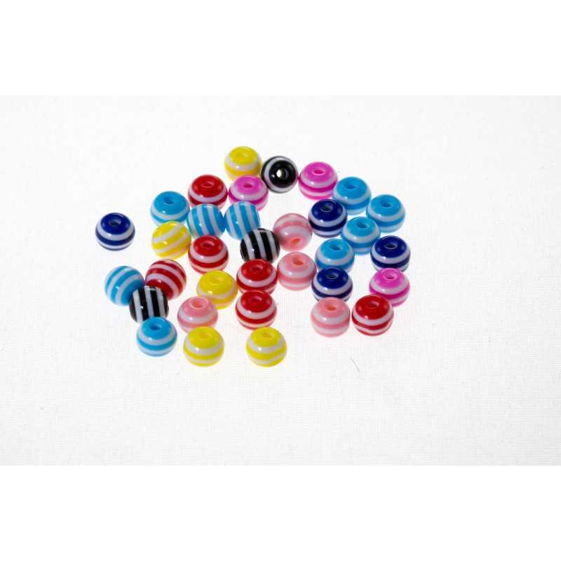 30 Perles en Acrylique Ronde Rayées 6mm Couleur Mixte