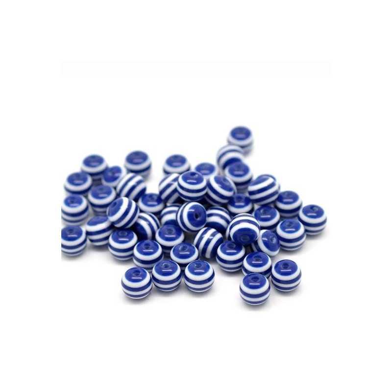 30 Perles en Acrylique Ronde Rayées 6mm Couleur Bleu Marine
