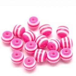 30 Perles en Acrylique Ronde Rayées 6mm Couleur Fuchsia MC0106073