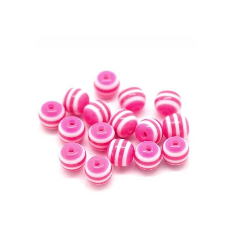 30 Perles en Acrylique Ronde Rayées 6mm Couleur Fuchsia