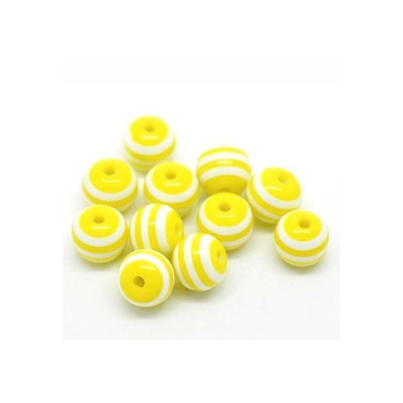 30 Perles en Acrylique Ronde Rayées 6mm Couleur Jaune