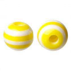 30 Perles en Acrylique Ronde Rayées 6mm Couleur Jaune MC0106074