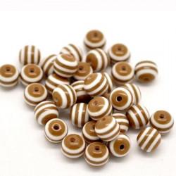 30 Perles en Acrylique Ronde Rayées 6mm Couleur Marron MC0106075