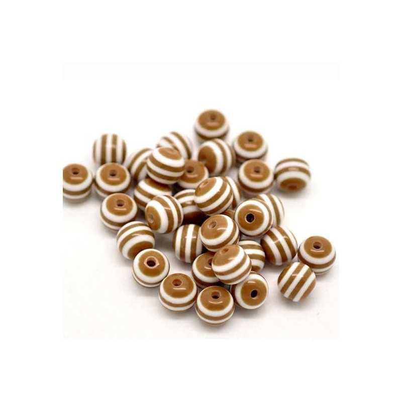 30 Perles en Acrylique Ronde Rayées 6mm Couleur Marron