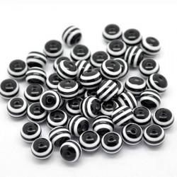 30 Perles en Acrylique Ronde Rayées 6mm Couleur Noir MC0106076