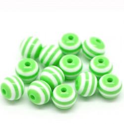 30 Perles en Acrylique Ronde Rayées 6mm Couleur Vert MC0106079