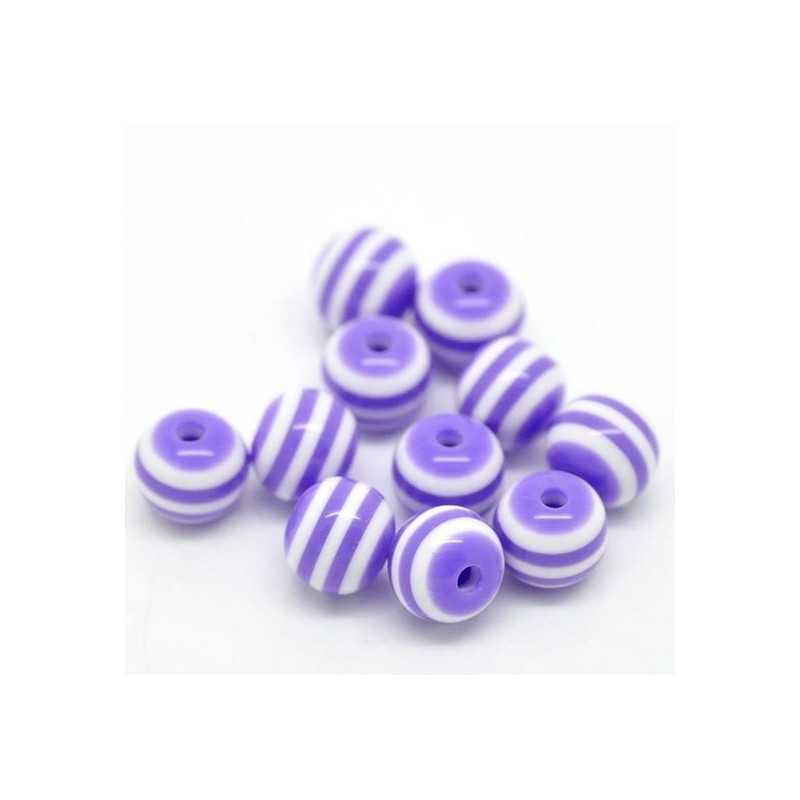 30 Perles en Acrylique Ronde Rayées 6mm Couleur Violet