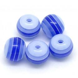 30 Perles en Acrylique Ronde Rayées Opaque 6mm Couleur Bleu Marine MC0106082