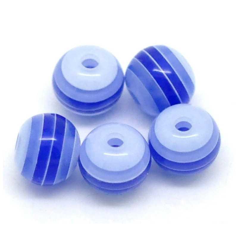 30 Perles en Acrylique Ronde Rayées Opaque 6mm Couleur Bleu Marine