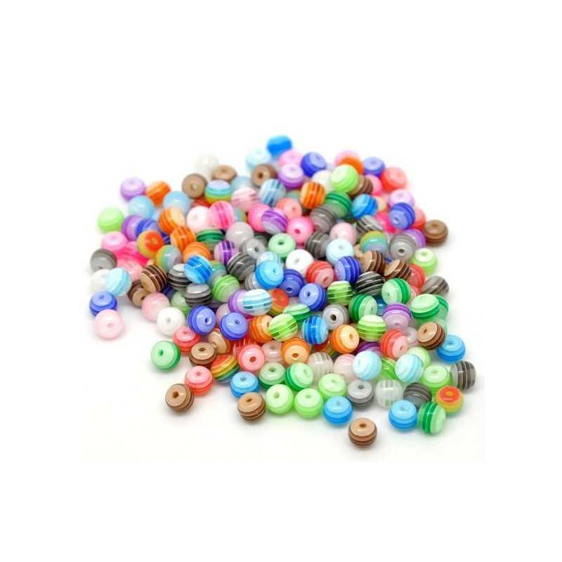 30 Perles en Acrylique Ronde Rayées Transparent 6mm Couleur Mixte