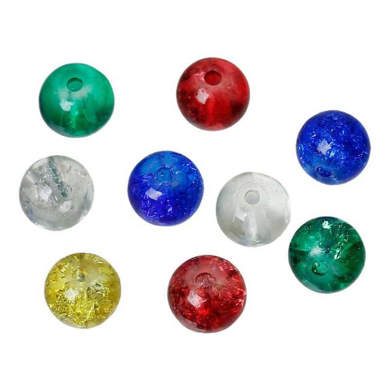 20 Perles en Verre Craquelé 6mm perle fissuré