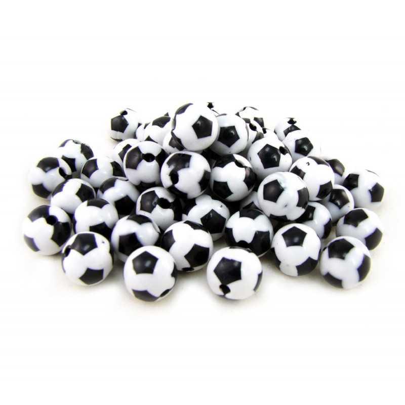 20 Perles Ballon de Football Acrylique 8mm Noir et Blanc