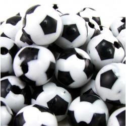 20 Perles Ballon de Football Acrylique 8mm Noir et Blanc MC0108065