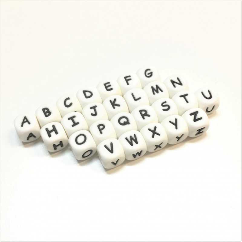 Perles Silicone Alphabet 12mm Blanc