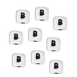 Perles Silicone Lettre Alphabet 12mm Blanc