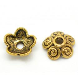 10 Coupelles - caps - Calottes Fleur Doré 10mm x 4mm