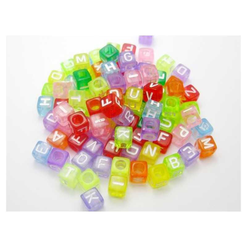 200 Perles Alphabet Transparent Multicouleur Cube 6mm Lettre Aléatoire