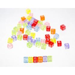 200 Perles Alphabet Transparent Multicouleur Cube 6mm Lettre Aléatoire MC0106117