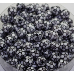 Lot de 10 Perles Ballon de football Noir en Acrylique 10mm