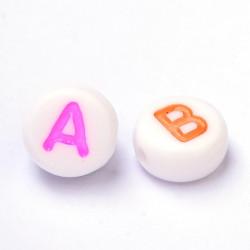 100 Perles Alphabet 7mm x 4mm Blanche Acrylique Lettre Ecriture Mixte MC0107121