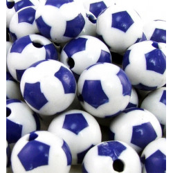 Lot de 10 Perles Ballon de football Bleu en Acrylique 12mm
