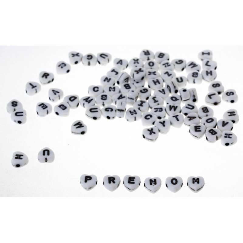 50 Perles Alphabet 7mm Coeur Blanche Acrylique Lettre