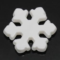 Lot 20 Perle Flocon de neige 12mm Acrylique Couleur Blanc
