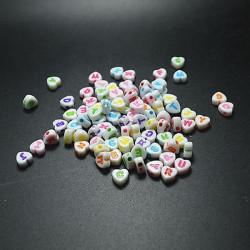 50 Perles Alphabet 7mm Coeur Blanche Acrylique Lettre Ecriture Mixte MC0107132