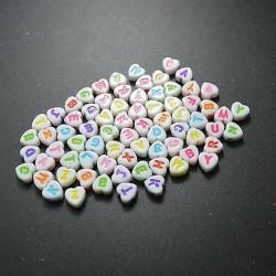 200 Perles Alphabet Blanche Ecriture Mixte Coeur 7mm Acrylique Lettre Aléatoire MC0107134