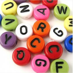 200 Perles Alphabet 7mm x 4mm Mixte Ecriture Noir Acrylique Lettre Ronde MC0107137