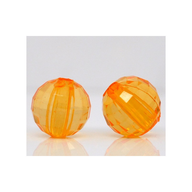 Lot de 20 Perles Orange Transparent en Acrylique facette brillant 8mm
