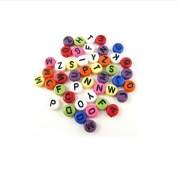 200 Perles Alphabet Multi-couleur Ecriture Noir Ronde 7mm x 4mm Acrylique Lettre Aléatoire MC0107137