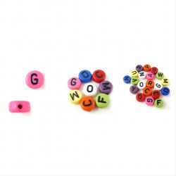 Lot Perles Alphabet 7mm x 4mm Mixte Ecriture Noir Acrylique Lettre Ronde MC0107135 - MC0107137