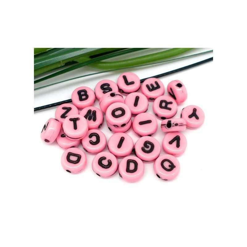 100 Perles Alphabet 7mm Rose Acrylique Lettre Ronde