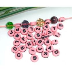 200 Perles Alphabet Rose Rond 7mm Acrylique Lettre Aléatoire MC0107139