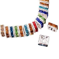 10 Perles Rondelle Carré strass mixte 10mm Argenté MC0110001