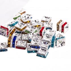 20 Perles Rondelle Carré strass mixte 10mm Argenté MC0110002